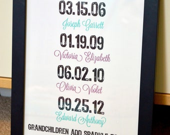 Gift for grandparents 11x14 Grandchildren add sparkle to life Gift for Mom Gift for parents Imporant dates art Family dates print Grandma