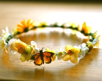 Yellow/Butterfly /Festival/Fairy/ Flower girl/ wedding /flower crown/hairpiece