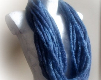 Indigo infinity scarf,spring accessories,gift under 20 for women fall fashion winter