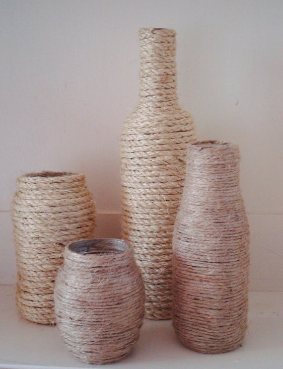 jute twine glass bottle vases
