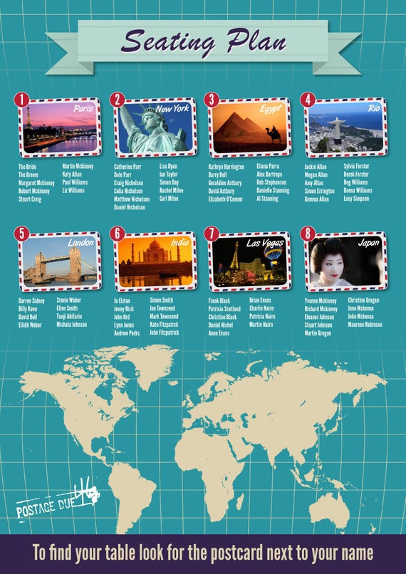 Places Of The World Travel Themed Seating Table Plan