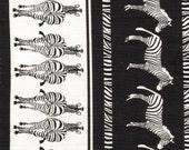 "Timeless Treasures African Safari Wild c9173 Zebra 11"" Stripe Black"