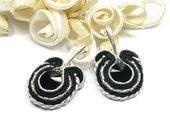 Hand Embroidered Soutache Earrings. Soutache Earrings with Black Swarovski Crystal. Oriental Earrings. Soutache Jewelry.