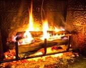 Winter Photography, Fire Photo, Holiday Fireplace Art Photograph Print, 8x10 - HausofAriella