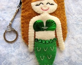 Cute Blonde Green Tail Felt Mermaid  Keychain Coin Purse
