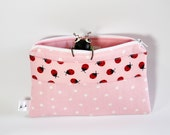 Pink Doodlebug Zip Pouch - Ladybugs - Cotton - Pink - Polka Dots - Girls - Pencil Case - back to school - knitting pouch - cell phone case