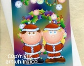 Christmas card, card set of 10, greeting card, wreath, ornaments, couple