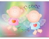 Angels card, card set of 10, greeting card, love and peace