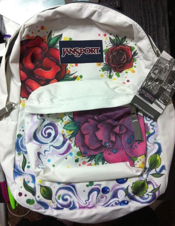Custom design JANSPORT backpack Flowers and nature design