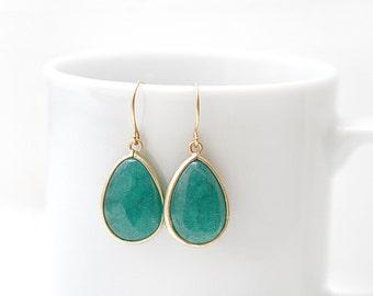 Gold Plated Framed Green Jade Earrings