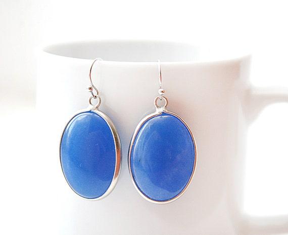 Polished Silver Plated Deep Blue Jade Stone Pendant Earrings