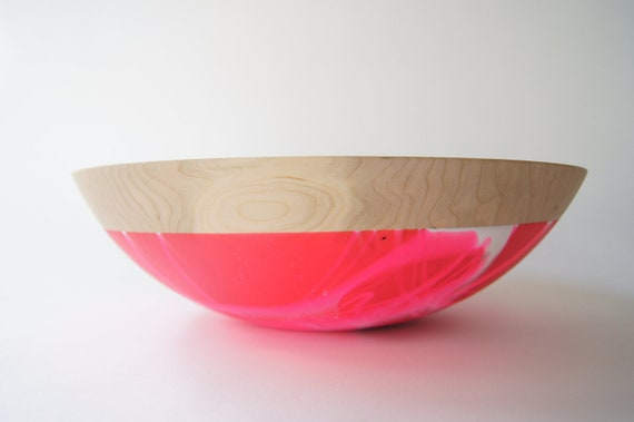 "Wooden Bowl 12"", Neon Pink and White Swirl, CHERRY WOOD Kitchen Decor, Fruit Bowl"