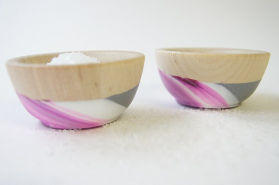 Wooden Mini Bowl Set of Two: Purple, White and Grey Swirl, Modern Kitchen