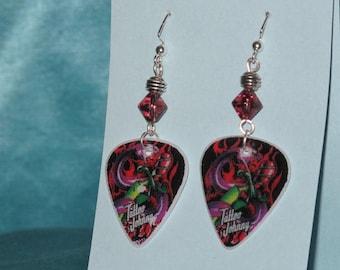 Handmade Tattoo Johnny Guitar Pick Earrings with Amethyst glass bead