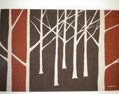 Vintage 1960s Marushka Silk Screen Print Autumn Trees