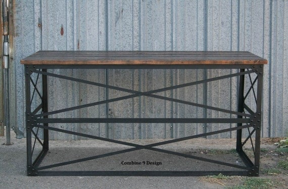 Modern industrial desk vintage table french industrial - Loft style office furniture ...