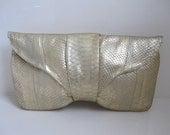 2nd RESERVED F/ KIM DAY - Vicky Genuine Python Snake Skin Leather Clutch Bag Purse Handbag in Gold Metallic