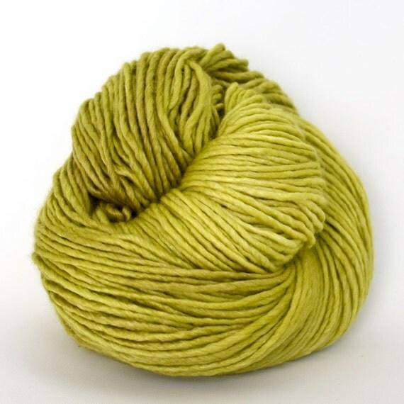 Hand Dyed Merino Wool Silk Single Ply Worsted Yarn - Limeade