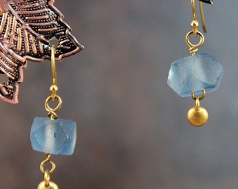 Recycled Glass Blue Bead Gold Filled Earrings