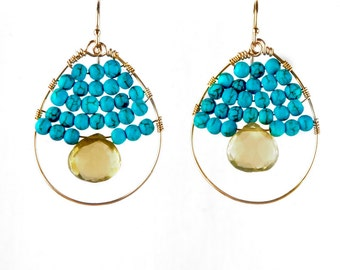 Turquoise and Lemon Topaz Gold Hoop Earrings, Handmade Gemstone Earrings