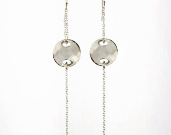 Swarovski Crystal Earrings, Long Swarovski Grey Dangle Earrings