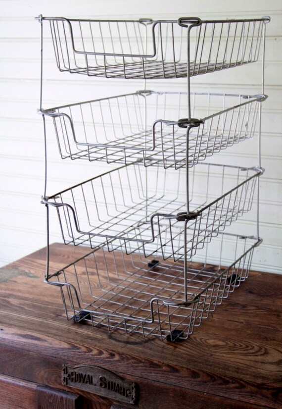 Vintage Metal Wire Rack In and Out Box Office Desk Organizer Set of 4