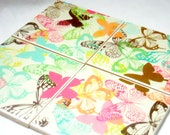 Butterfly coaster set - drink coasters - ceramic tile coaster