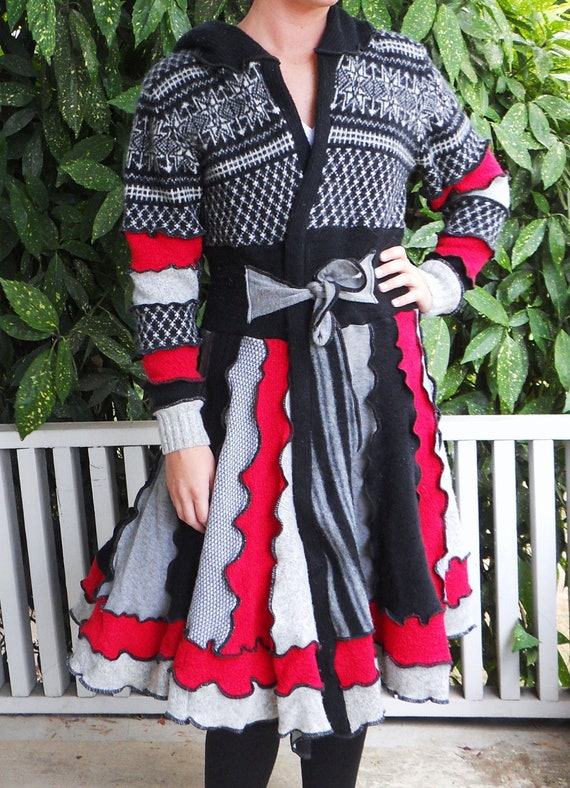 Recycled Sweater Coat Queen of Hearts Reserved for Cassie