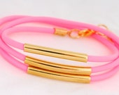 Neon Wrap Tube Bracelet, Gold and Neon Pink