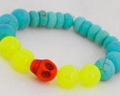 Turquoise, Coral and Yellow Skull Neon Beaded Bracelet