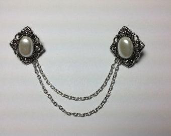 Pearl Diamond shape Collar Tips