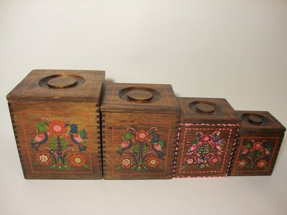 Vintage Wooden Nesting Canisters - Set of Four