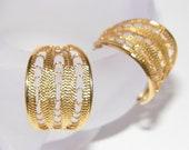 Wide Goldtone Vintage 1990s Filigree Hoop Earrings with posts