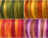 Tussah silk tops 40 grams / Summer hot colors / set of 4 colours (10 grams each colour)