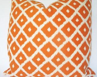 Decorative Reversible Ikat Pillow Cover, Orange 18x18, 20x20, 22x22 or Lumbar, Diamond Throw Pillow