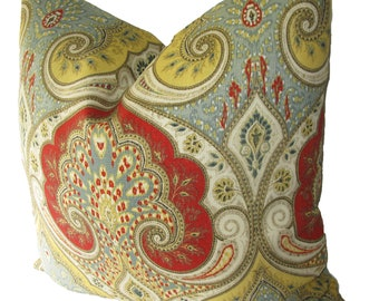 Decorative Designer Kravet Latika Paisley, Ikat, Red, Yellow,  18x18, 20x20, 22x22 or Lumbar, Throw Pillow