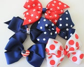 Red, White and Blue Hair Bows