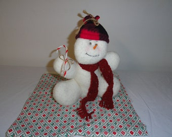 Fleece Snowman with Fleece Hat and crocheted Scarf