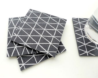 Grey Triangle Coasters - Set of four - White Triangle Pattern on Charcoal Wool Felt