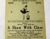 Original Vintage Larry Benner's Fantasies of 1929 Revue Show Handbill