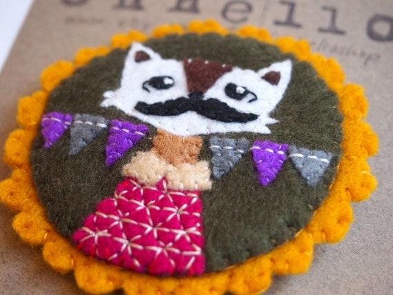 H U M A N I M A L handmade felt brooch - moustache wolf boy with buntings