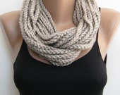 Oat meal crochet chain scarf,cowl,neck warmer, infinity scarf