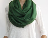 Fall scarf, Pashmina infinity scarf, dark green loop scarf, autumn scarf, wrap, shawl