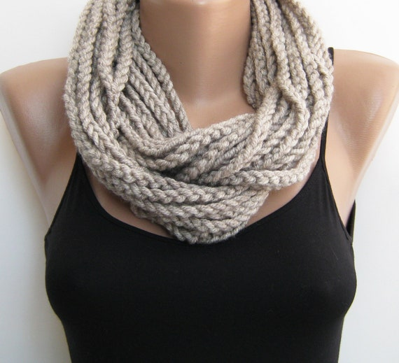 Cowl Infinity Gift, Top Selling Top, Chain Top, Winter Scarf Present, Cowl Circle Knit, Gift Cowl Loop, Long Light Wrap, Scarf Big Large