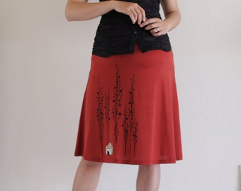 Maternity  Knee Lwength Skirt . Orange A-line Skirt . Handmade Applique Skirt-Surrounded by big trees -size XL