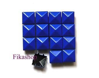 20% Off Clearance SALE: 9mm 100pcs Blue polished pyramid studs (8 legs) / HIGH Quality - Fikashop