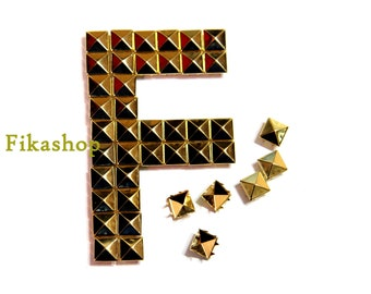 10% Off Clearance SALE: 10mm 50pcs Gold pyramid studs (8 legs) / HIGH Quality - Fikashop
