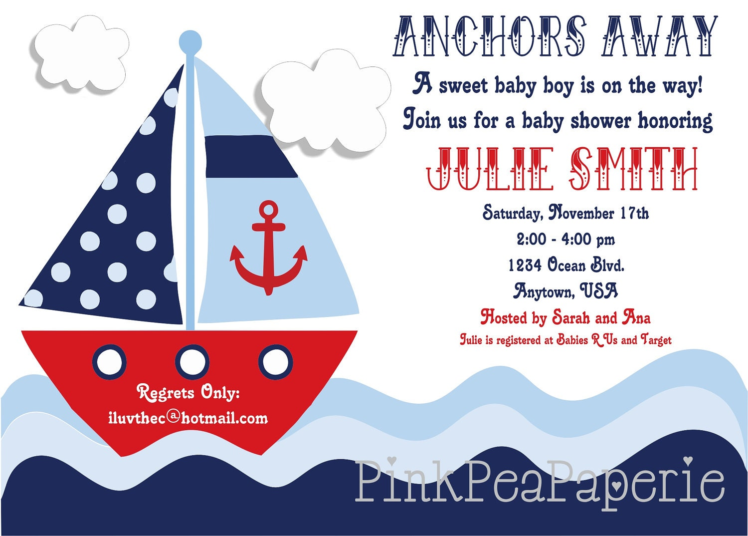 nautical baby shower invitation digital by pinkpeapaperie on etsy
