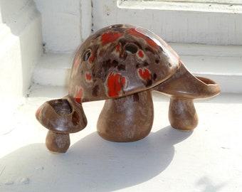 Mushroom Pencil Holder, 1970's, Ceramic, Splatter Glaze, Brown, Orange