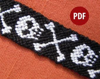 Plunder Skull & Crossbones Friendship Bracelet Pattern